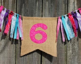 Custom Burlap Banner, Birthday Bunting Banner, You pick colors/theme, Birthday Photo Prop