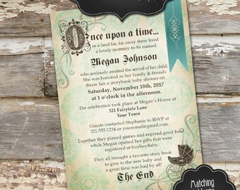 STORYBOOK Custom Baby Shower Invitation - Girl or Boy - Digital File, You Print - 5x7 - Colors and Wording Customizable