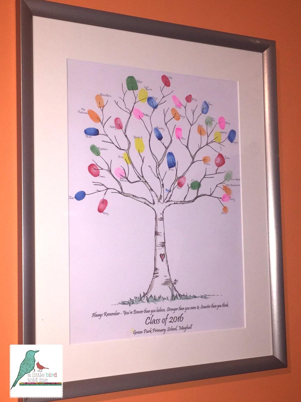 Personalised Fingerprint Tree School Leaver / Nursery Leaver