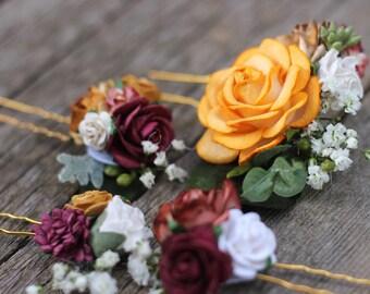 Fall Flower Hair Piece, Burgundy Hair Comb, Floral Hair Comb, Bridal Hair Piece, Flower Hair Pins, Preserved Baby Breath, Eucalyptus