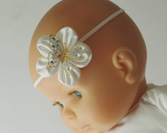 Butterfly christening headband