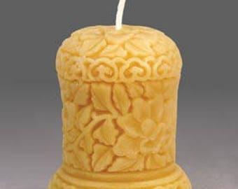 Sculpted Flower Pillar Gold Beeswax Candle