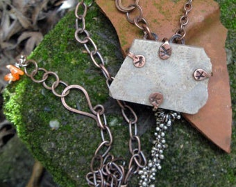 Rustic coral fossil necklace with copper setting and chain