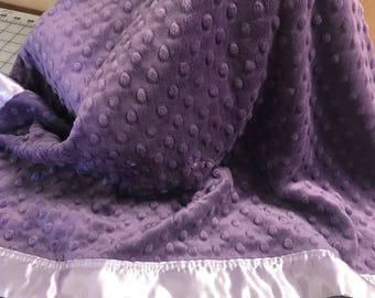 30 x 34 purple grape lavender minky dot blanket with lavender satin backing and binding