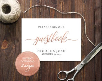 Editable PDF Guestbook Sign Rose Gold Calligraphic Wedding Leave your sign Guestbook Template DIY Printable Editable Guestbook #DP140_07