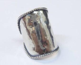 Hippie ring sterling silver Hammered Ring Boho. Israeli designer Bohemian ring
