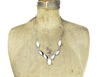 Vintage Silver Necklace, Large Mother of Pearl Necklace, Black and White Necklace, Black White Point Necklace