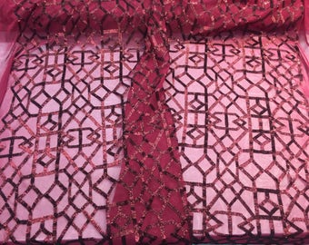 Matte burgundy geometric sequins Embroider on a 2 way mesh-prom-nightgown-decorations-sold by the yard.