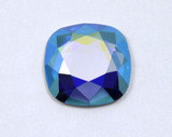 Vintage Swarovski 2470 14mm Sapphire AB Faceted Square Cabochon