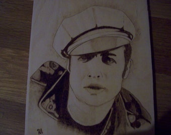 Pyrography - wood burning art  - Marlon Brando