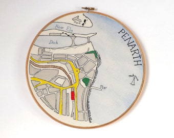 Vintage Penarth Town Map, South Wales Coastline - Framed Textile Stitched Illustration, 10 inch Wooden Embroidery Hoop