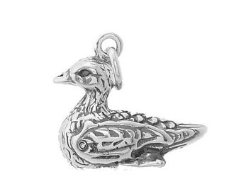 Sterling Silver Mallard Duck / Wild Duck Charm (3d Charm, Hollow Bottom)