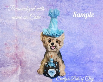 Tan with Black Yorkie Yorkshire Terrier BIRTHDAY dog - Name on Heart -OOAK Clay Cake Topper art by Sally's Bits of Clay Original Sculpture