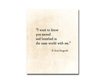 F. Scott Fitzgerald Quote, Romantic Wall Art, Literary Art Print, I love Her Quote, Anniversary Gift, Book Page Wall Art, Literary Wall Art