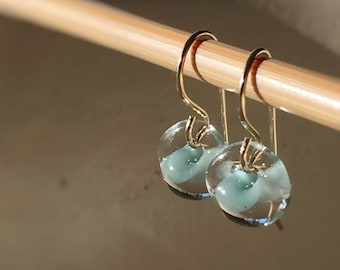 Water Droplet Earrings - Borosilicate Glass Teardrops on Gold Filled Wires in Sea Spray Blue - Also Available in Sterling Silver