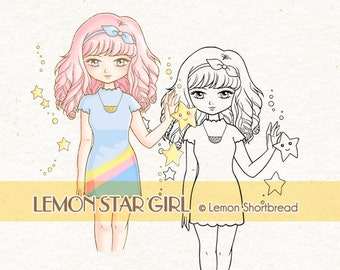 Digital Stamp Lemon Star Girl, Digi Cute 80s Fashion, Coloring Page, Anime Shoujo, Scrapbooking, Card Making Supplies, Instant Download
