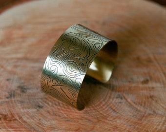 Etched brass Cuff Bracelet