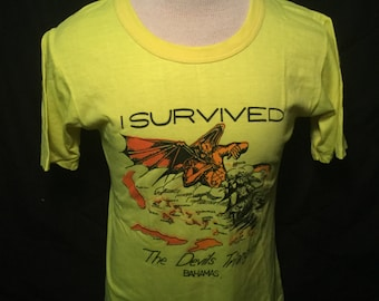 Vintage 1980's Tourist T-Shirt Devils Triangle Surfing  50/50 Great Color Made in USA Thin and Soft