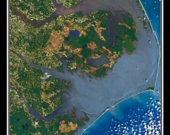 Outer Banks North Carolina Satellite Poster Map