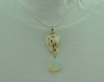 White Seashell with Fish Necklace