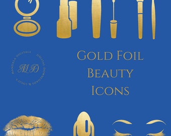Gold Foil Icons - Gold Foil Beauty Icons - Gold Icons - Social Media Icons - Makeup Icons - Beauty Icons