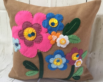 Wool Felt Cushion with Appliqué Flowers and Button Embellishments