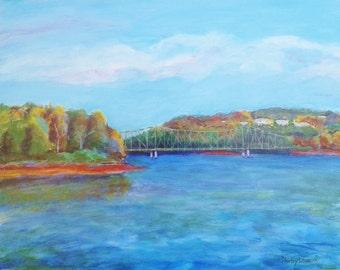 Lake painting, Lake scene, Lake Lanier painting, Gainesville Georgia, Lake house art, 16x20, Shirley Lowe, autumn lake landscape, lake art