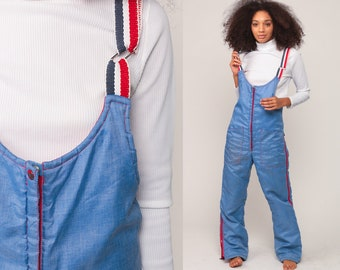 Ski Pants Snowsuit Ski Suit 70s Overalls Ski Pants Snow Suit Hippie Striped Bib Vintage Boho Retro Jumpsuit Blue Small Medium