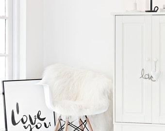 Genuina piel de oveja islandesa rara alfombra - lana largo sedoso suave - blanco cremoso Natural