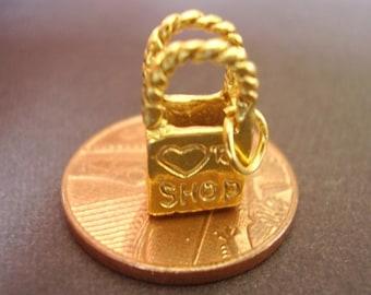 9ct gold hallmarked LOVE TO SHOP  handbag charm  charms