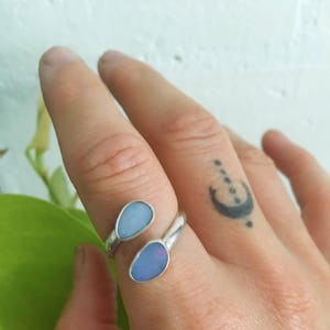 DOUBLE OPAL ADJUSTABLE ring  // sterling silver // made to your size in byron bay // australian opal // personalized bohemian gypsy ring