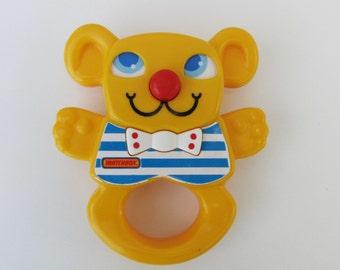 Vintage Matchbox Bear Rattle Baby Toy 1983 Kitsch Retro 1980s Child Gift