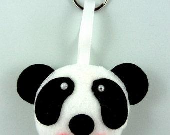 Felt Keychain. Felt Keyring. Felt Panda Keychain. Panda Keyring. Soft Felt Panda. Ornament. Bag Charm.