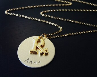 Gold Plated RX Pharmacy Pharmicist Graduation Pinning Ceremony Handstamped Gift Necklace
