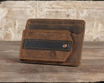 Full Grain Leather Compact Guitar Pick Wallet, Whiskey (Brown)