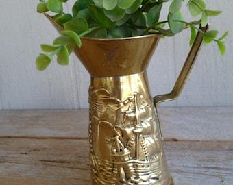 Beautiful Vintage Brass Jug Pitcher Metal Peerage England