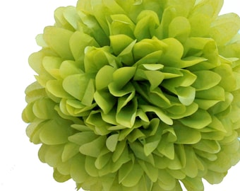 "Set of 3 Apple Green Tissue Pom Pom, Green Tissue Paper Pom Poms 14"""