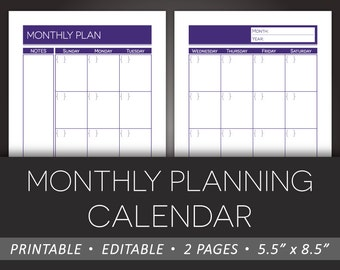 Printable Monthly Planner – Editable Calendar Monthly Planning  5.5 x 8.5 Half Letter Size PDF – Instant Download