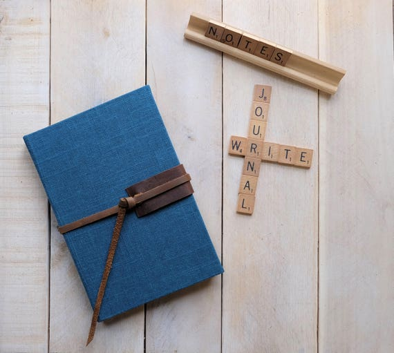 "Linen and Leather Journal or Sketchbook in ""Storm Blue"""