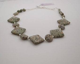 Rhyolite, Rainforest Jasper, Necklace with Thai  Silver