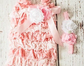 Baby Girl Easter Outfit, First Easter Outfit, Pink White Easter Outfit, Baby Girl Lace Romper, Pink Romper, 1st Easter Outfit, Lace Romper,