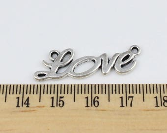 5 Silver Love Connector Charms -  Beautiful Cursvie Style Charms - EF00120