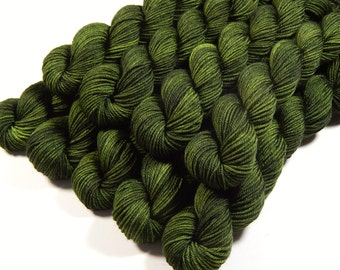Mini Skeins, Hand Dyed Yarn, Sock Weight 4 Ply Superwash Merino Wool - Moss Tonal - Olive Green Fingering Sock Yarn