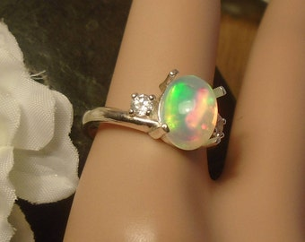 Clear Ethiopian Fire Opal 2 Birthstone Accent Gems Ring,Sterling Silver Ring, 1.77 Cts 10.20 x 8.30 mm Natural Welo Ethiopian Fire Opal