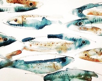 NEW Fish Sardines Art Print by Andrea Joseph