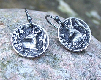 Tiny Deer Earrings, Oxidized Sterling Silver Ear Wires, Woodland Scene, Nature Lover Gift, Rustic Jewelry, Small, Drop, Dangle