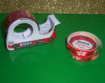 Vintage Christmas Tape Dispenser And Tape, Scotch Brand,Reindeer, Extra Tape