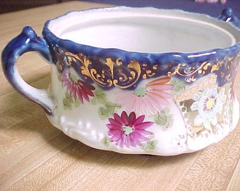 Antique Flow Blue China Handled Serving Bowl With Hand Painted Flowers and Gold Trim, Vintage Collectible Cobalt Blue and White Dish