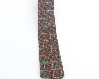 1950's vintage Rhodia acetate neck tie of fabric woven in France, deadstock/NOS