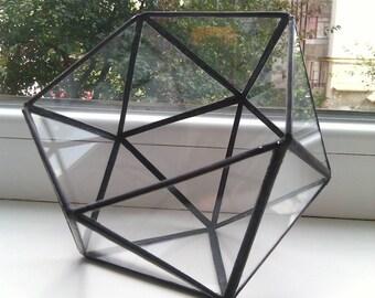 Small geometric terrarium Icosahedron Glass indoor planter Succulent pot Air plant box Tabletop